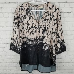 TRIBAL JEANS   high low button down flowy blouse